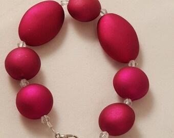 Women's Bracelet- Women's Pink Jewelry - Beaded Bracelet  SIZE SMALL- Pink Bracelet - Pink - Hot Pink - Acrylic Bead - Beaded Bracelet