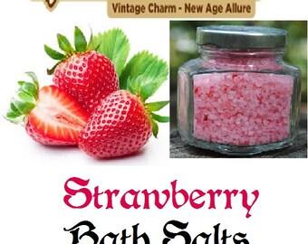 Strawberry Scented Bath Salts 100% Dead Sea Salt 4 oz Jar