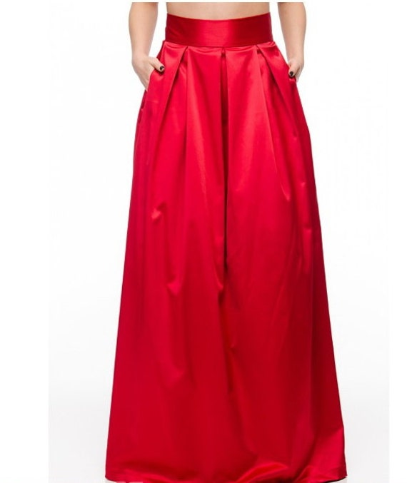evening skirt maxi skirt satin skirt by