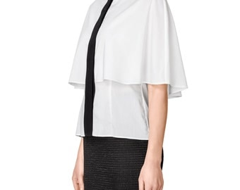 White Shirt with Beaded Collar