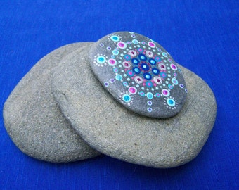 Mandala art on stone, hand painted beach stone, blue silver pink, dot painting with acrylics, beach artwork, painted rock