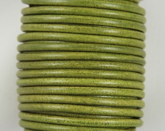 "MADE IN SPAIN 2 feet (24""/61cm) green round leather cord, 5mm round leather cord, (5ANIVCA)"
