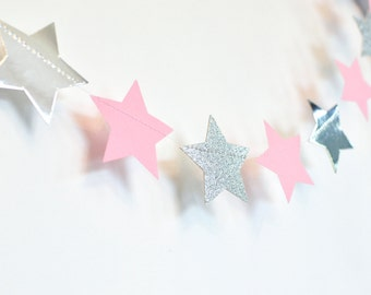 Pink and Silver Twinkle Twinkle Little Star, Paper Garland, Birthday Party Decor, Nursery Decor