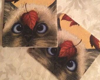 Minu the Cat ~Set of 2 Stone Coasters