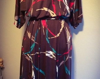 Vintage 1970's Womens ILGWU Lady Carol of New York Brown Dress with Contemporary Splatter Pattern Size Medium