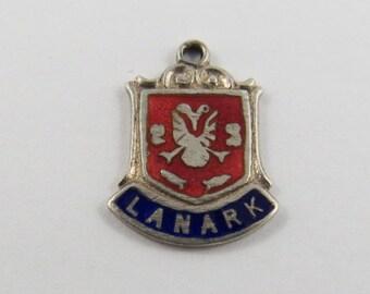 Enameled Lanark Travel Shield Sterling Silver Charm or Pendant.