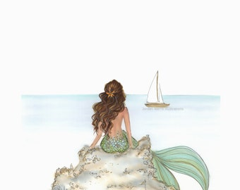 Mermaid Rock Brunette Fashion Illustration Coast Line- Beach House - Ocean Print