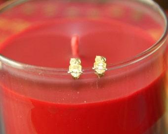 14K Gold Owl Stud Earrings/Butterfly back Vintage New Posts Wise Bird Owl Earrings