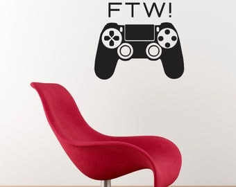 FTW ! Wall Sticker - For The Win Games Console Controller Decal