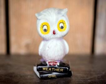 Vintage Weather Owl - Retro Kitsch White Ceramic Yellow Eyed Owl Sitting on Book Stack - Weather Owl 1960's Decorative Figurine