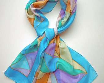 Pastel hand painted silk scarf
