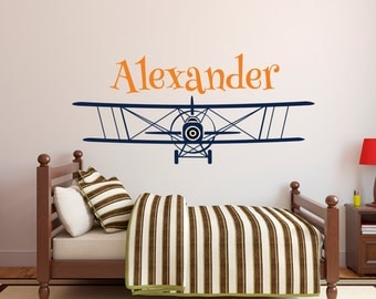 Personalized Airplane Name Wall Decal - Name Wall Decal - Nursery Wall Decal - Biplane Decal - Boys Airplane Decal - Kids Vinyl Wall Decal