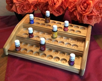 Essential oils rack / oil organizer / 57 bottle storage, EO display shelf for Young Living & doTerra 5ml + 15ml bottles, 4 color choices!