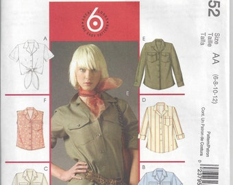 McCall's 5052 Pattern for Misses' and Miss Petite Shirt in Two Lengths, Sizes 6 8 10 12, Uncut