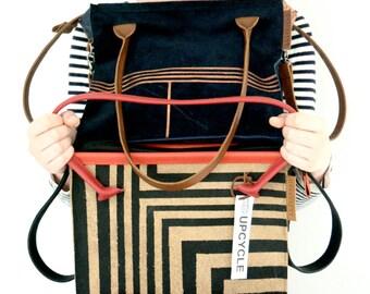 Leather handprinted dutch design shoulderbag