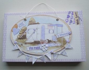 Handmade Caravan Plaque in Purple & Lilac with Gift Box