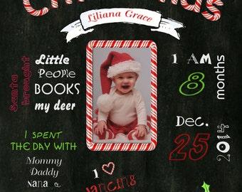 11x14 digital printable Baby's First Christmas commemorative print