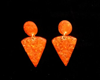 Orange  Wedge Earrings with Gold Accents  - Vintage 1970 - Acrylic - Rough Granite Type Texture - Clip on Earrings - Casual or Dress Up