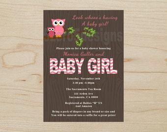 Owl Baby Shower Invitation Girl, Owl Baby Shower Girl, Baby Shower Girl, Owl Baby Shower Invitation, DIGITAL DOWNALOAD