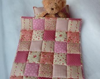 Dolls Cot Bedding Set.  3 or 4 Piece. Quilt/Comforter - Pillow - Mattress/Sheet. For Dolls to 30 cm 12 inch. Cot- Crib- Pram- Pink Patchwork