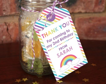 Rainbow Party Thank You Tags - Rainbow Party - Rainbow Birthday - Edit yourself at home!