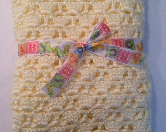 Super Soft Crochet Baby Blanket, Blue, 26x29