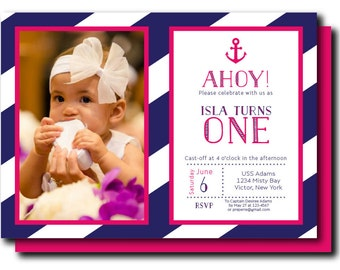 Nautical Invitation, Nautical Baby Shower Invitation, Printable Nautical Baby Shower Invitation, Preppy Nautical Birthday)