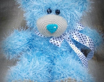 Blue Hand knitted Teddy Bear Valentines Day Gift with Love Gift for Her Valentine stuffed knitted toys Plush birthday gift MADE TO ORDER
