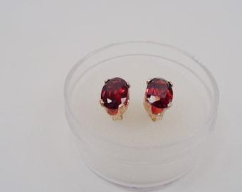 Natura 7 x 5mm. Oval Red Spessartite Garnet Silver Earrings