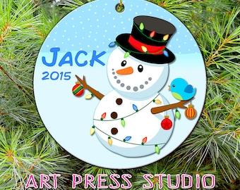 Baby Boy Christmas Ornament, Personalized Christmas Ornament, Snowman Ornament, Christmas Gift, Keepsake, Custom Gift