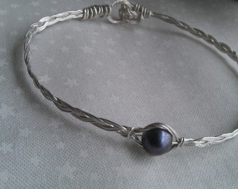 sterling silver bracelet , wire wrapped bracelet, freshwater bracelet , handmade bracelet