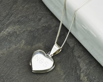 Monogram Personalised Sterling Silver Heart Locket - Personalized Locket - Bridesmaid gift - Gifts for her- Wedding gift - [WPDT001-SS-18SS]