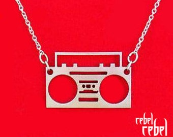 Boombox necklace - 100% Stainless Steel - ball chain or rolo necklace - ghetto blaster - radio - hip hop - old school - charm -silver- cute