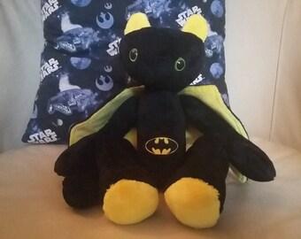Bat-dragon plush... handmade, cuddly, & ready to train!