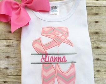 Ballet Slipper Dance Name Fame Applique Embroidery Design Download Stitch Design - 0117