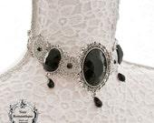 Elegant victorian gothic choker-Gothic choker-victorian gothic jewelry-choker with gems-silver choker