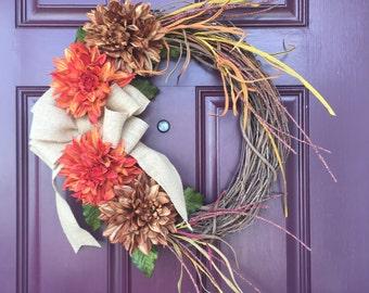 Fall Wreath, Front Door Wreath, Dahlias, Autumn Wreath, Monogram Wreath, Burlap Bow