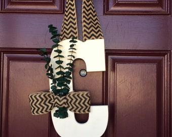 Letter Wreath, Monogram, Letter Door Wreath, Front Door Letter, Chevron Burlap, Monogram Wreath, Door Letter, Wall Letter