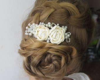 Ivory peony comb, bridal flower comb, pearl, wedding flower comb, pearl hair comb, flower comb, bridal comb, flower hair accessory, clay