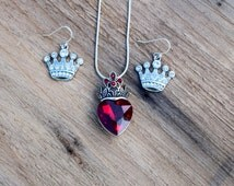 Evie's Necklace and Earrings Set, Descendants Red Heart with Crown Necklace and Crown Earrings, Pre Teen Gift, Rhinestone Heart