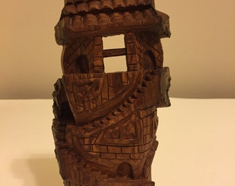 Hand Carved Cottonwood Hobbit House - Fairy Castle