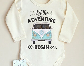 Let The Adventure Begin Baby Bodysuit. Baby Shower Gift. Cute Baby Clothes. Adventure Baby Shirt. Coming Home Outfit. Hipster Baby Clothes.