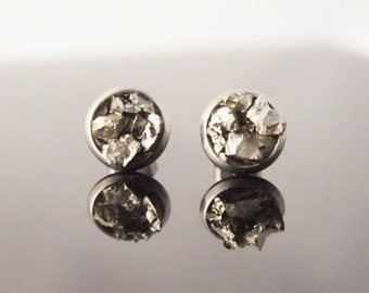 Gift for Coworker - Raw Pyrite Earrings - Pyrite Studs - Stainless Steel Stud Earring - Raw Crystal Earrings - Raw Crystal Studs