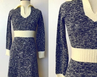 25% OFF SALE 1970's Space Dyed Sweater Dress