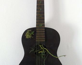 Deco guitar, guitar plant, green guitar, plant design, green