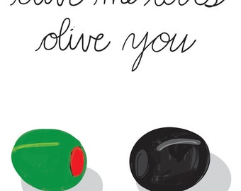 Olive me loves all of you / all of me wall art print DIGITAL DOWNLOAD