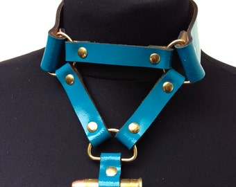 AQUIFER / / Genuine Patent Leather Cobalt Blue Brass Bullet Choker (cyber, goth, military)