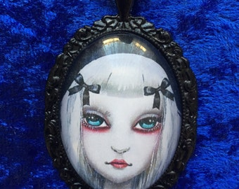 Alice in wonderland inspired glass cabochon gothic necklace