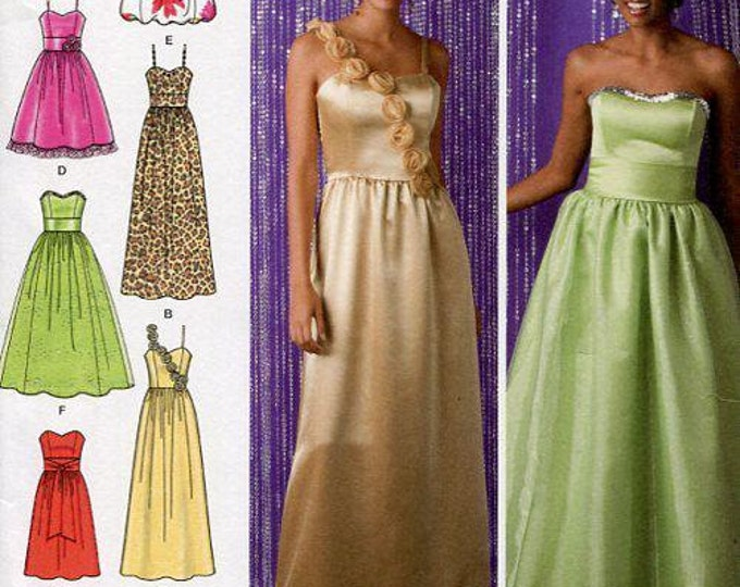 FREE US SHIP Simplicity 2440 Prom Evening Length Dress Gown Strapless Size 4-12, 12-20 Bust 29 30 31 32 34 36 38 40 42 Uncut Sewing Pattern