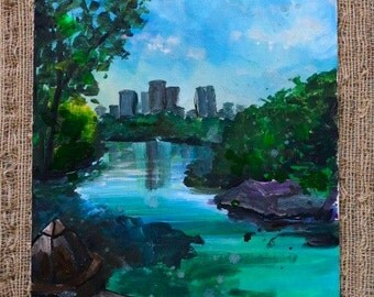 Central Park, New York City Acrylic Painting by Olivia Rose Art